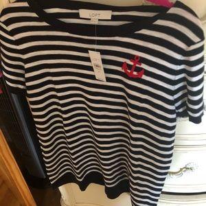 LOFT blue striped anchor sweater t shirt NWT!
